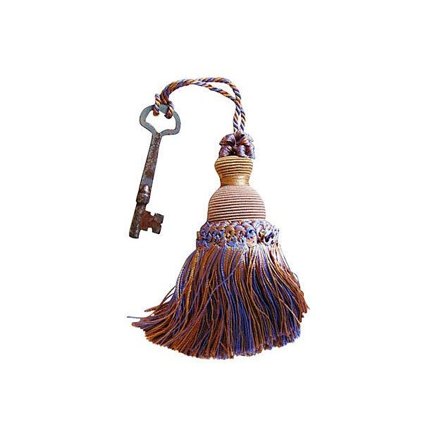 Image of Antique Skeleton Keys with Tassels - A Pair