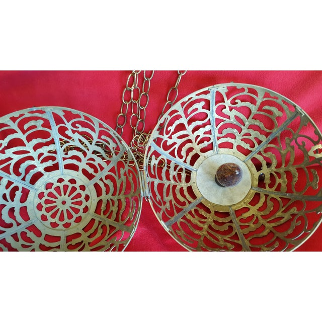 Vintage Asian Brass Pierced Globe Lantern - Image 5 of 7