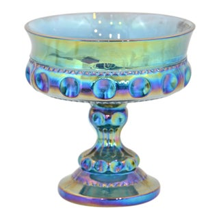 Iridescent Blue Pedestal Bowl