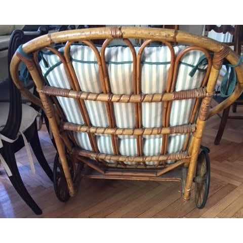 Antique rattan chaise chairish for Antique wicker chaise