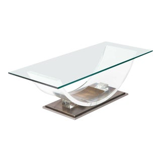 Lucite and Brass Coffee Table by Charles Hollis Jones