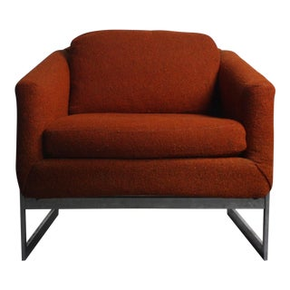 Mid-Century Modern Chrome Base Bucket Lounge Chair