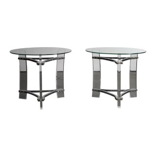 Charles Hollis Jones Lucite End Tables - Pair