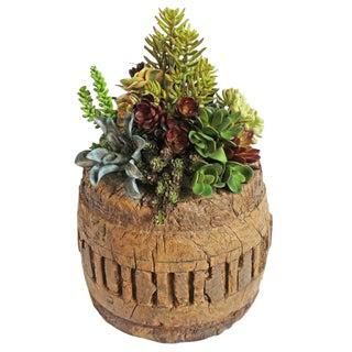 Faux Succulent Wagon Wheel Pot