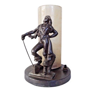 Art Deco Pirate Metal Lamp With Glass Cylinder