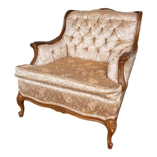Vintage Hollywood Regency Blush Pink Brocade Chair