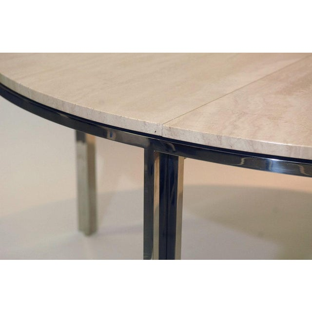 Pace Polished Stainless and Travertine Dining Table - Image 1 of 7