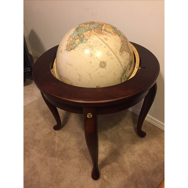 """George F. Cram Co. Floor Model Classic 16"""" World Globe with Wooden Stand - Image 5 of 5"""