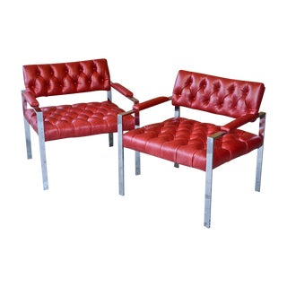 Harvey Probber Chrome & Leather Chairs - A Pair