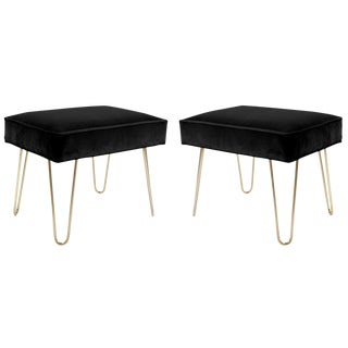 Brass Hairpin Ottomans in Noir Velvet - A Pair