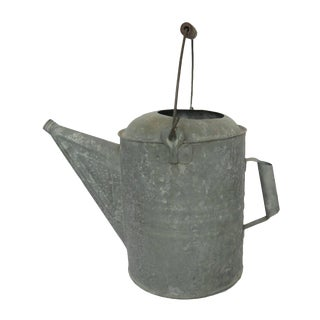 Antique Large Galvanized Metal Watering Can