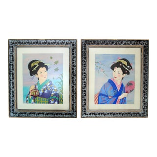 Vintage Framed Japanese Geisha Pastel Paintings - A Pair