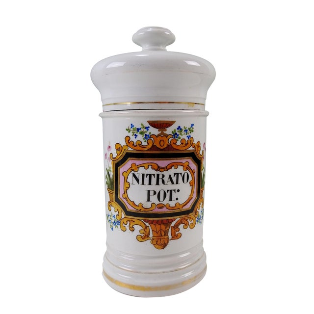 Image of Antique French Porcelain Apothecary Jar 1880's