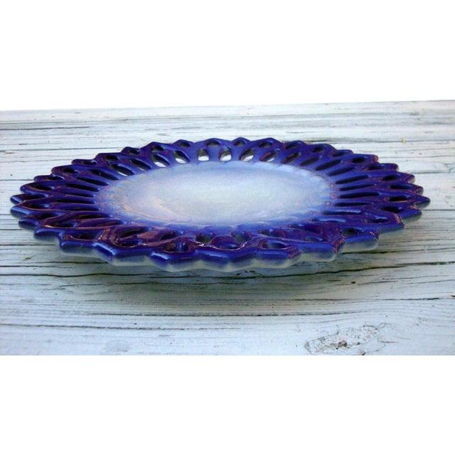 Vintage Portuguese Majolica Ceramic Blue Platter - Image 5 of 6