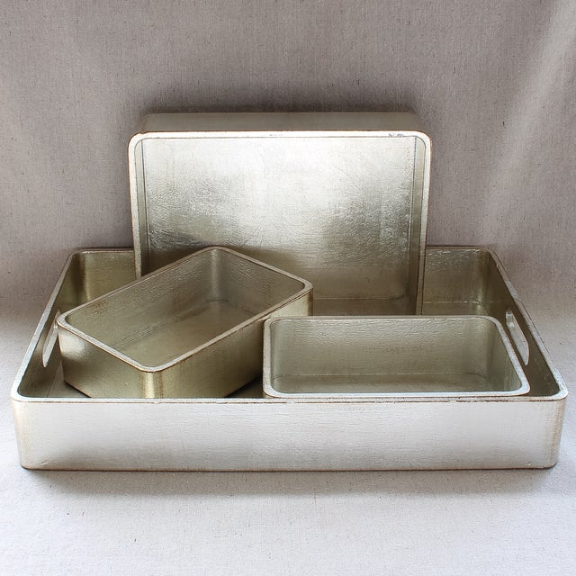 4-Piece Florentine Silver-Gilt Nesting Trays - Image 2 of 11