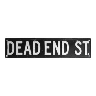 Vintage Black & White Dead End Street Sign