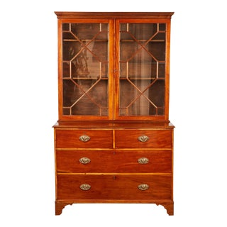 A Late 19th Century Mahogany Brown Georgian Bureau Bookcase