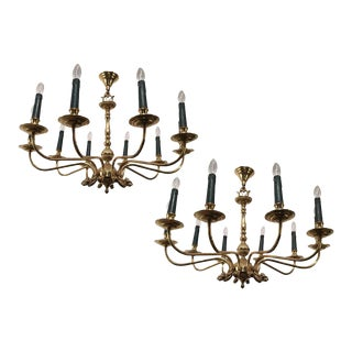 Pair of Large Brass Chandeliers in the Form of Dolphin Heads