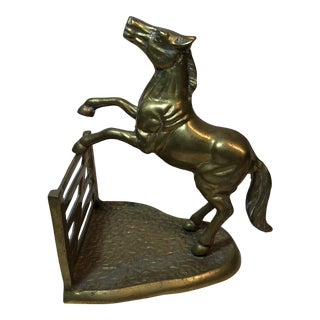 Brass Horse Jumping Fence Statue or Bookend