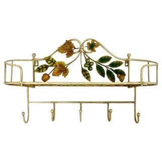 Italian Tole Shelf with Hooks