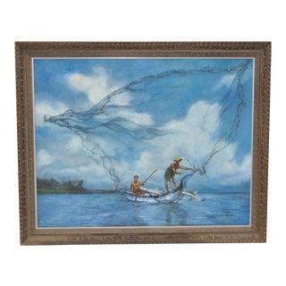 "C.1969 Vintage ""Micronesian Fishermen"" Oil Painting"