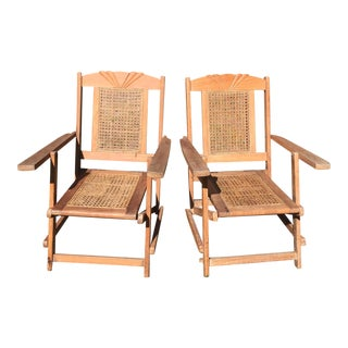 Vintage Teak & Cane Folding Chairs - A Pair