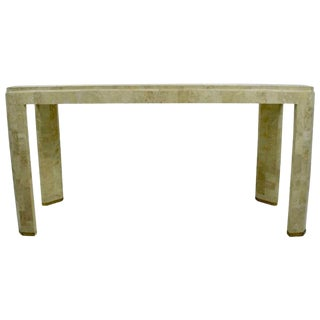 Maitland-Smith Tessellated Marble Console with Brass Inlay