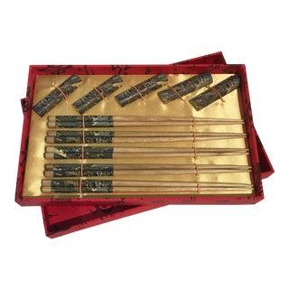 Village Scene Motif Chopsticks With Rests - Set of 5