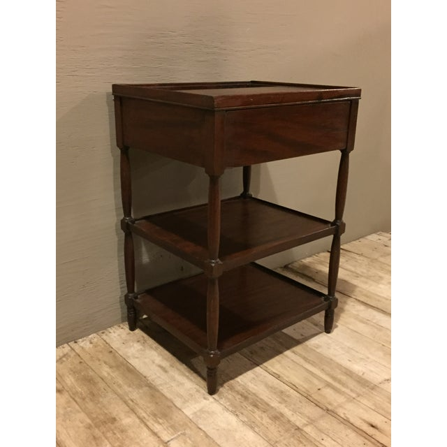 Image of Antique 1900s Tiered Mahogany Table with Basin