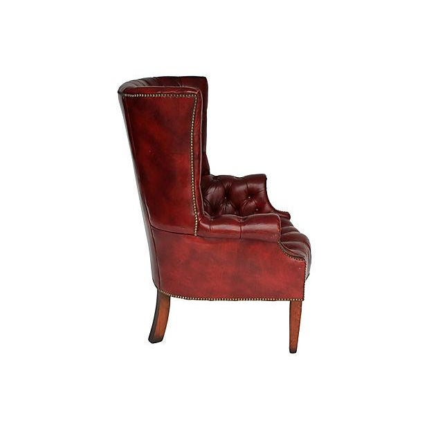 Tufted Leather Wingback Chair - Image 3 of 8
