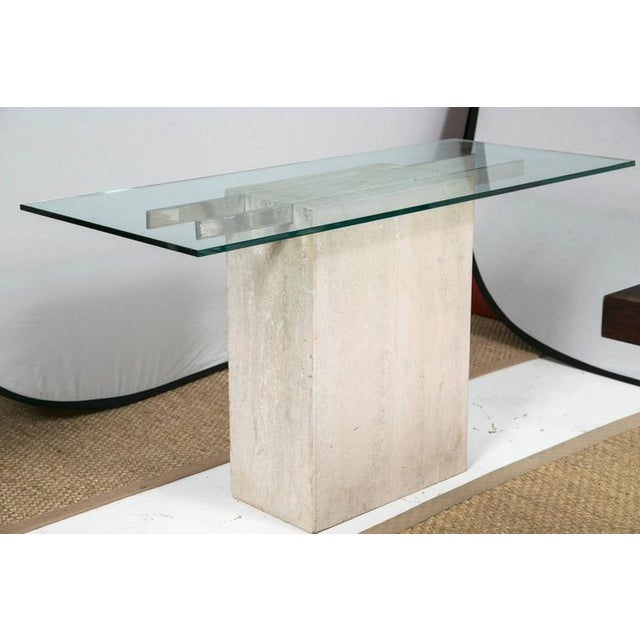 Image of Travertine and Chrome Console Table by Ello Furniture