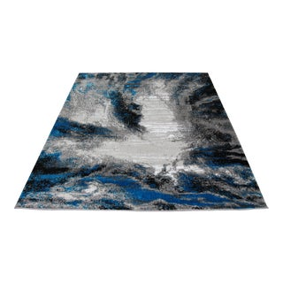 Turkish Contemporary Black & Blue Abstract Rug - 5' x 8'