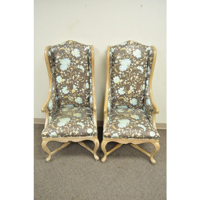 Hollywood Regency French Country Carved Wingback Chairs - A Pair - Image 5 of 11