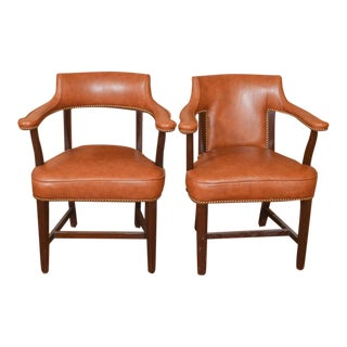 Vintage Leather Captain's Chairs - A Pair