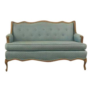 Vintage Carved Wood Blue Brocade French Loveseat
