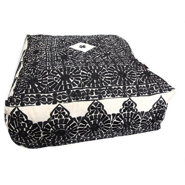 Handmade Moroccan Black Square Floor Pouf - Image 2 of 2