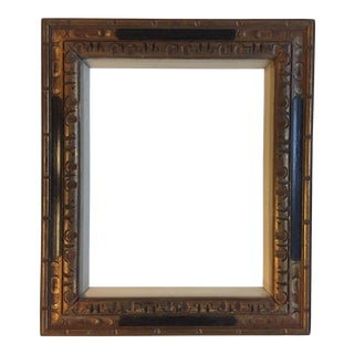 Mid-Century Hand Carved Black & Gold Frame