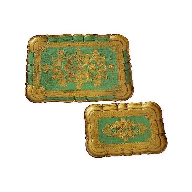 Image of Turquoise & Gilt Florentine Trays