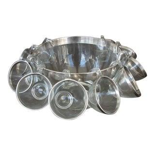 Vintage Dorothy Thorpe Silver Trimmed Punch Bowl Set