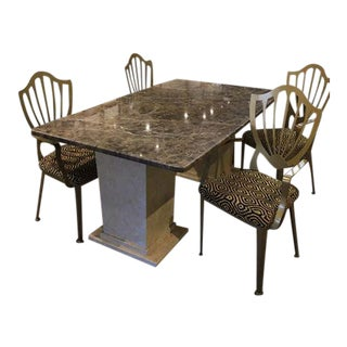 Polished Brown Marble Table With Dining Chairs - Set of 5