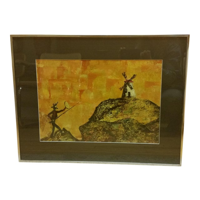 Mid-Century Don Quixote & Windmill Oil Painting - Image 1 of 7