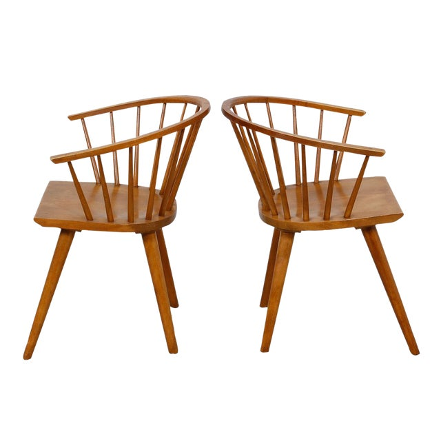 Russell Wright for Conant Ball Dining Armchairs- A Pair - Image 1 of 10