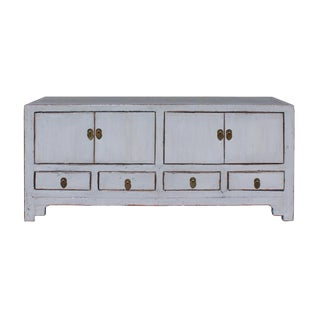 Chinese Distressed Gray Low TV Console Table Cabinet