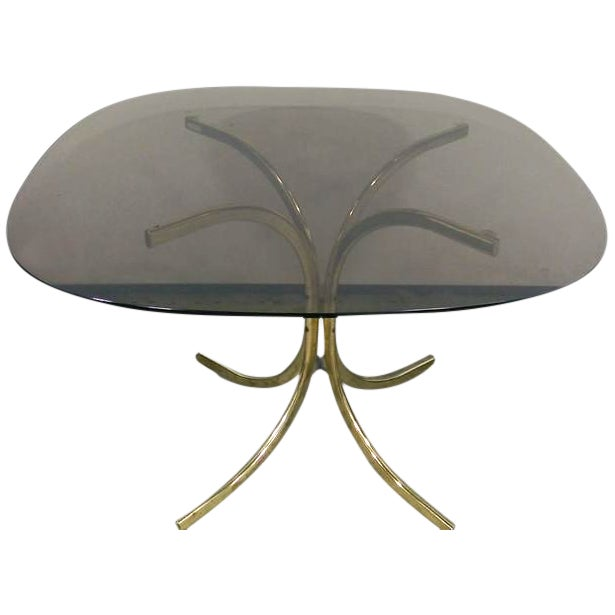 Image of Smoked Glass & Brass Dining Table