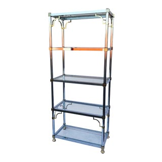 Chrome and Brass Chinoiserie Style Etagere