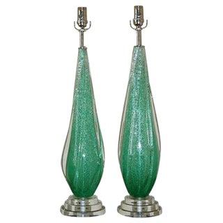 Pulegoso Murano Lamps by Seguso in Green