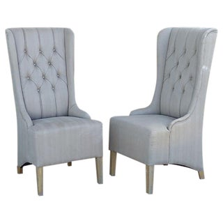 Tall Upholstered Wing-Back Chairs - a Pair