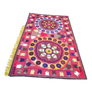 """Yellow Tassel Vintage Suzani Blanket - 7'2"""" x 4'5"""""""