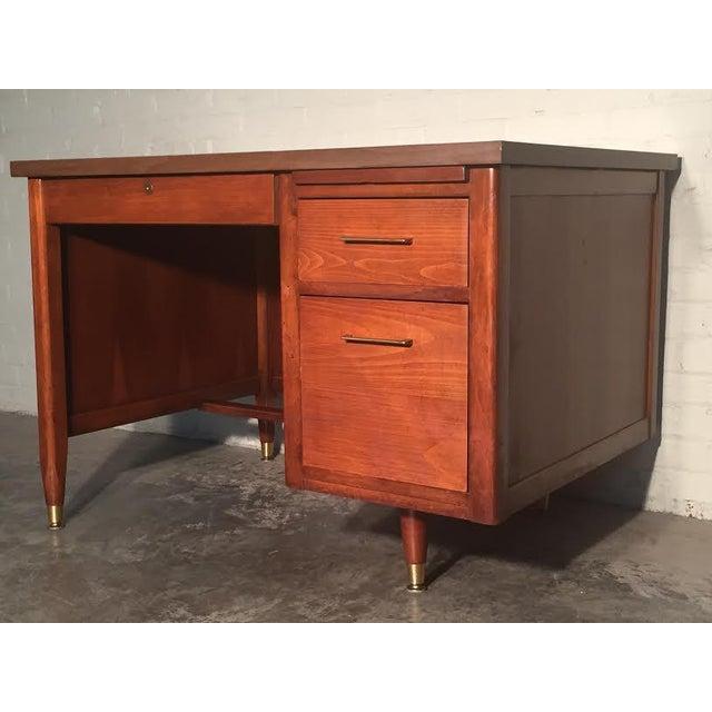 Hoosier Mid-Century Modern Walnut Desk - Image 2 of 10