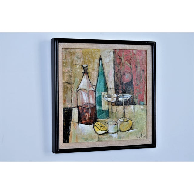 1950s Mid-Century Modern Cubist Oil Painting by Kero S. Antoyan Abstract Expressionism Millennial Pink - Image 3 of 11